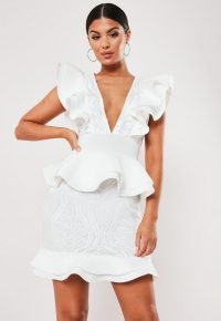 Missguided white scuba frill lace panel plunge mini dress
