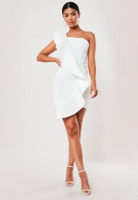 Missguided white scuba one shoulder mini dress