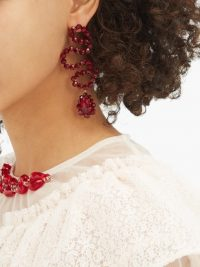 SIMONE ROCHA Wiggle beaded drop earrings in red