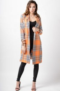 LOVE Willow Below Knee Jacket in Orange Grey Check ~ longline jackets