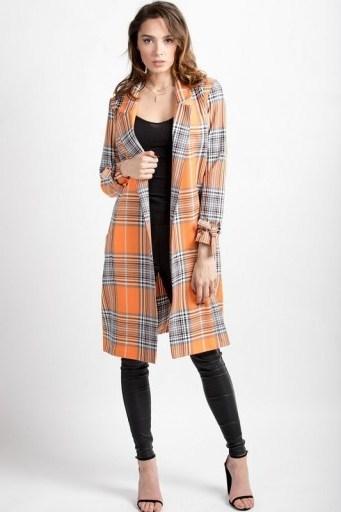 LOVE Willow Below Knee Jacket in Orange Grey Check ~ longline jackets - flipped