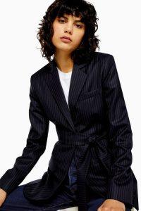 TOPSHOP Wool Pinstripe Wrap Blazer By Boutique ~ smart tie waist jacket