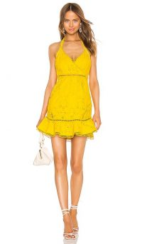 X by NBD Luxley Mini Dress Beeswax Yellow | frill hem halterneck