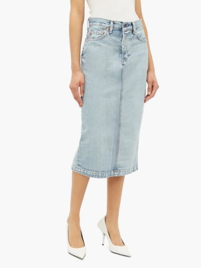 WARDROBE.NYC X Levi's high-rise light-blue denim midi skirt