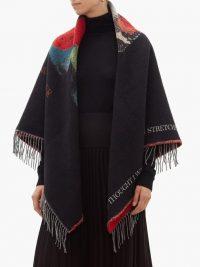 VALENTINO X Undercover jacquard wool-blend shawl ~ black designer shawls