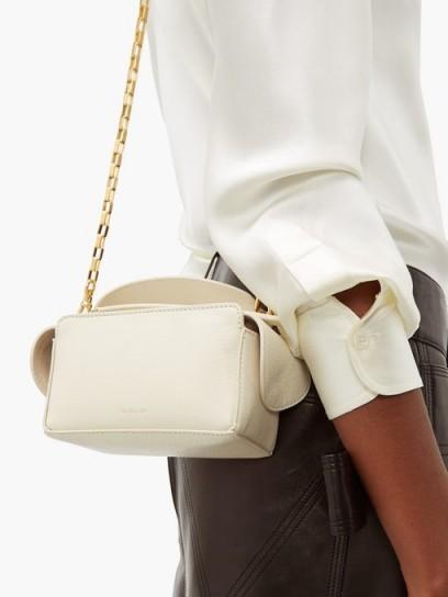 WANDLER Yara mini leather cross-body bag in white | small luxe handbag