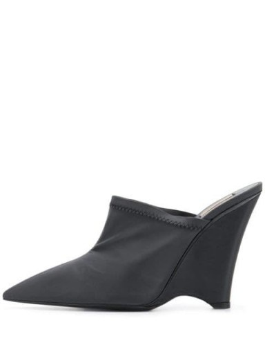 YEEZY angled wedge mules in black - flipped