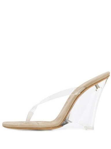 YEEZY wedge heel mules in beige | clear wedged heels - flipped