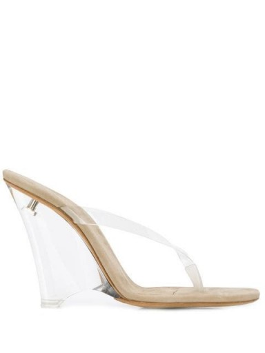 YEEZY wedge heel mules in beige | clear wedged heels