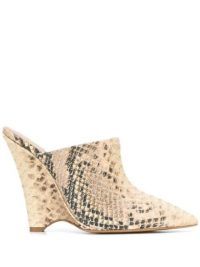 YEEZY angled wedge mules in Ecru | snake print wedges