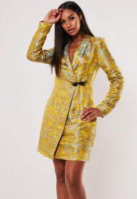 MISSGUIDED yellow jacquard wrap blazer dress