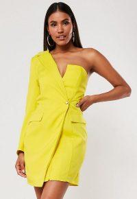 MISSGUIDED yellow one shoulder blazer dress