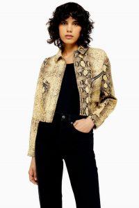 Topshop Yellow Snake Print Denim Jacket | zip detail jackets