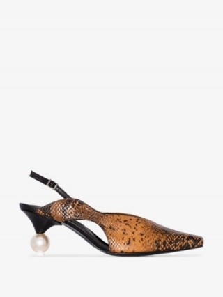 Yuul Yie Brown Doreen 70 Python Slingback Pumps