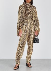 ZIMMERMANN Espionage leopard-print silk jumpsuit / high neck jumpsuits