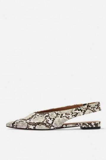 Topshop ABELLA Slingback Shoes in Natural | snake prints - flipped