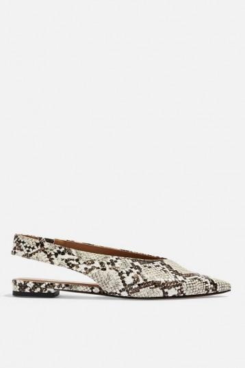 Topshop ABELLA Slingback Shoes in Natural | snake prints