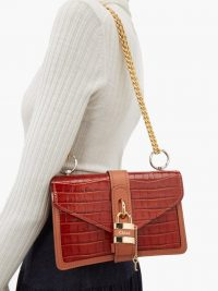 CHLOÉ Aby brown crocodile-embossed leather shoulder bag