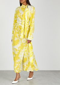 ACNE STUDIOS Yellow printed silk dress / sophisticated occasion wear