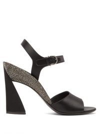 SALVATORE FERRAGAMO Aede crystal-embellished black satin sandals