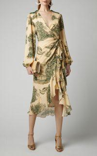 Johanna Ortiz Al Son Del Tambor Silk-Georgette Midi Dress ~ ruffle trimmed wrap style dresses