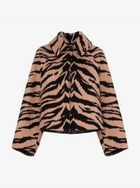 Alaïa Wide Collar Tiger Jacket in Brown and Black / vintage style glamour