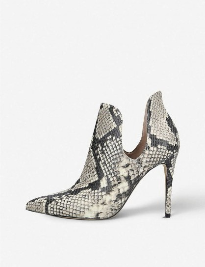 ALDO Amilmathien snake print leather ankle boots / side cut-out booties - flipped