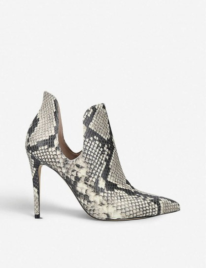 ALDO Amilmathien snake print leather ankle boots / side cut-out booties