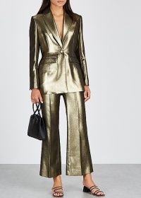 ALEXACHUNG Gold kick-flare lamé trousers ~ flared pants