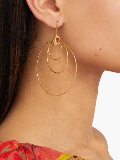 ORIT ELHANATI Alice gold-plated hoop-drop earrings / triple hoops
