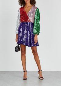 ALICE + OLIVIA Blaze panelled sequin mini dress ~ colour block paneled dresses