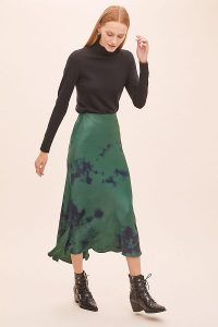 Kirei Althea Tie-Dyed Satin Bias Skirt Green Motif