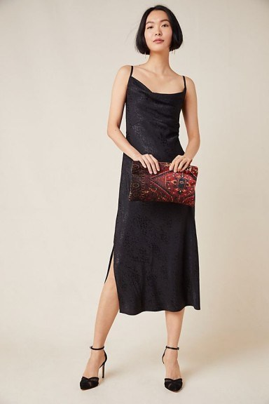 Anthropologie Amelie Jacquard Slip Dress Black Motif | cowl neck cami frock - flipped