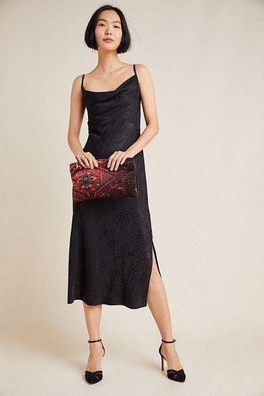 Anthropologie Amelie Jacquard Slip Dress Black Motif | cowl neck cami frock