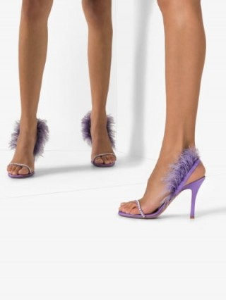 Amina Muaddi Purple Adowa Satin Crystal Feather Sandals / luxe party heels