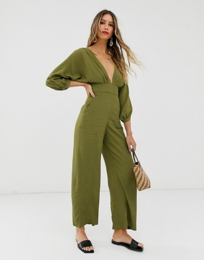 & other Stories low neck jumpsuit in khaki-green - flipped