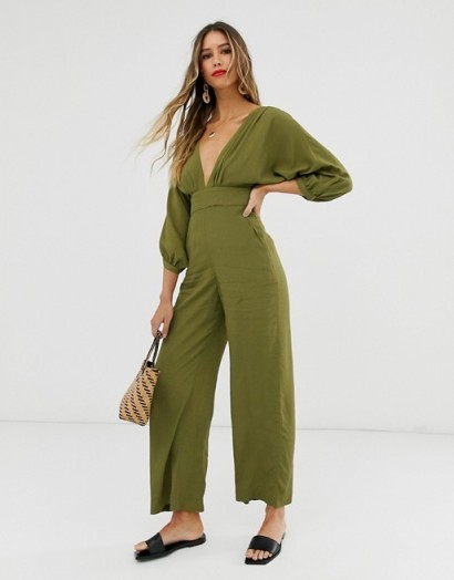 & other Stories low neck jumpsuit in khaki-green