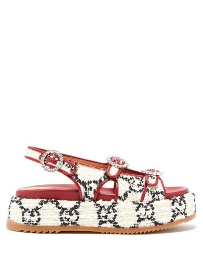 GUCCI Angelina crystal-embellished tweed sandals | designer slingback flatforms