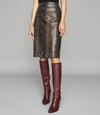 REISS ANNIE SNAKE PRINTED LEATHER MIDI SKIRT TAUPE ~ effortless glamour