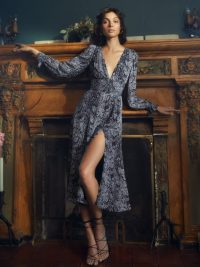 Reformation Aries Dress in Serpent | plunging neckline dresses