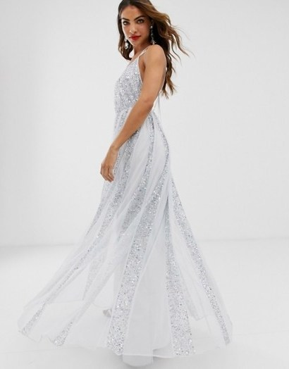 ASOS DESIGN cami strap maxi dress in mesh with embellished sequin godet panels in pale-blue / shimmering occasion gown - flipped