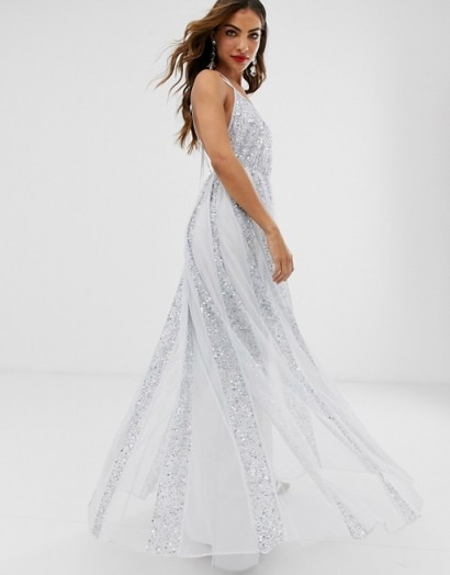 ASOS DESIGN cami strap maxi dress in mesh with embellished sequin godet panels in pale-blue / shimmering occasion gown