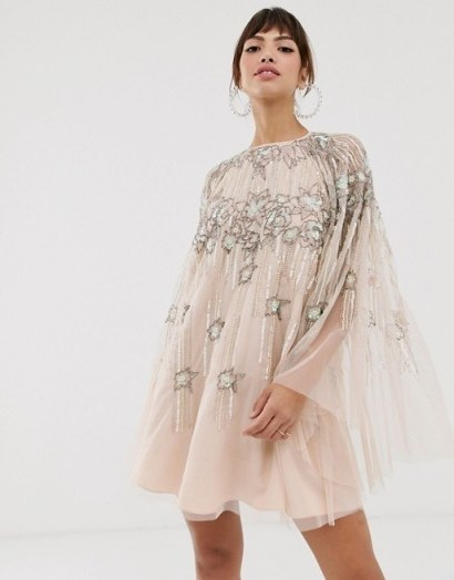 ASOS DESIGN cape mini dress in linear and floral pearl and sequin / party princess dresses - flipped