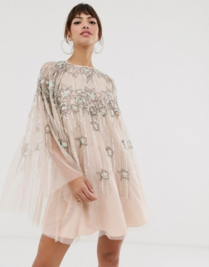 ASOS DESIGN cape mini dress in linear and floral pearl and sequin / party princess dresses