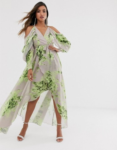 ASOS DESIGN cold shoulder floral print maxi dress / flowing going out dresses