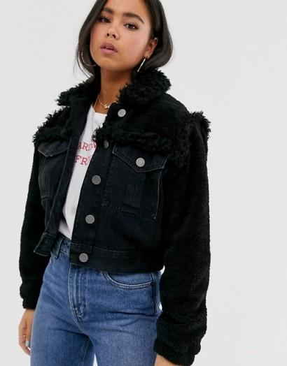 ASOS DESIGN denim jacket with borg detail in black | textured jackets