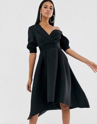 ASOS DESIGN Fallen shoulder tux prom midi dress in black
