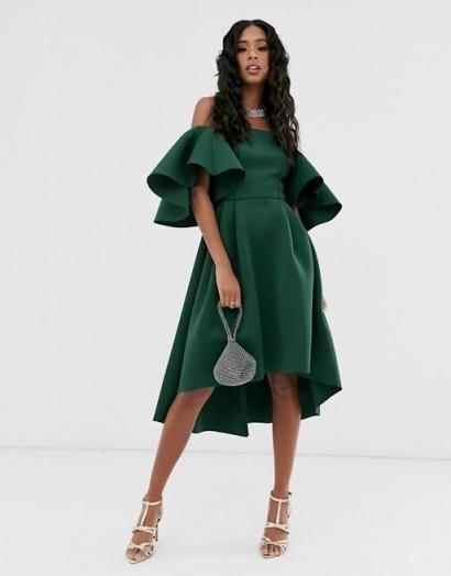 ASOS DESIGN flutter sleeve bandeau midi prom dress in forest-green