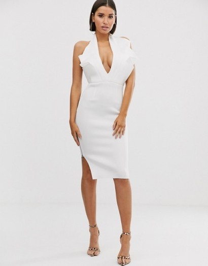 ASOS DESIGN halter paneled detail midi dress in ivory
