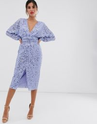 ASOS DESIGN midi dress with batwing sleeve and wrap waist in scatter sequin in blue | deep V-neckline party dresses